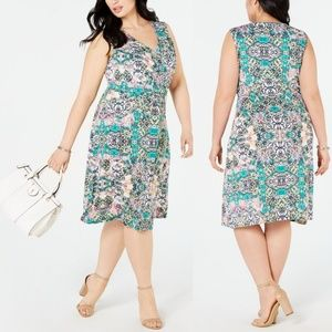 Plus Size Belted Fit & Flare Dress NY Collection
